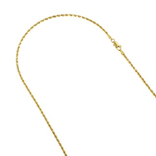 LUXURMAN 14k White or Yellow Gold 1.5mm Wide Rope Hollow Chain Necklace Lobster Clasp