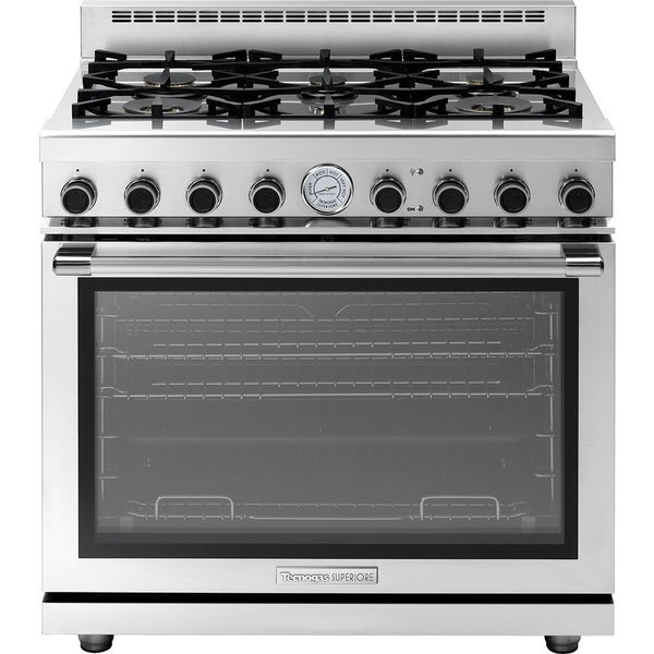 "Tecnogas Superoire Range NEXT 36"" Panorama 6 Burner Stainless Steel"