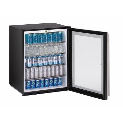 U Line ADA Series  24 Inch ADA Compliant Stainless Steel Glass Door All  Refrigerator