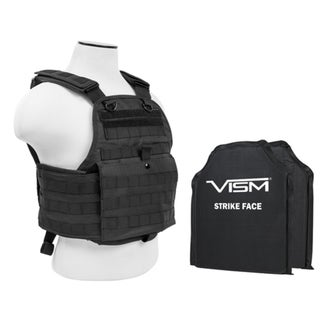 "NcStar Plate Carrier Vest with 10"" x 12"" Soft Panels Black"