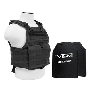 NcStar Plate Carrier Vest with 10-inch x 12-inch PE Hard Plates Black