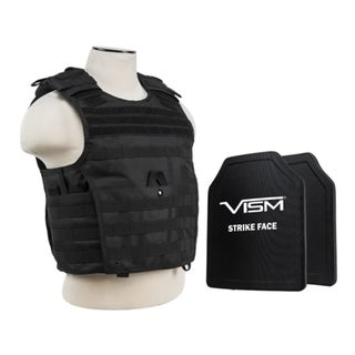 NcStar Black Expert Carrier Vest with 10x12-inch PE Hard Plates