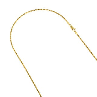 LUXURMAN 14k White or Yellow Gold 2mm Wide Rope Hollow Chain Necklace with Lobster Clasp