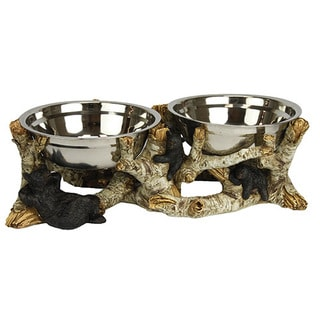 Rivers Edge Products Birch Bark Stainless Steel Dog Bowl Set