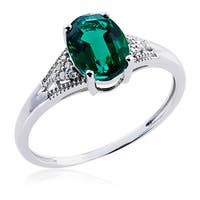 10k White Gold Ring with Emerald and Diamonds (G-H, 12-13) - Green