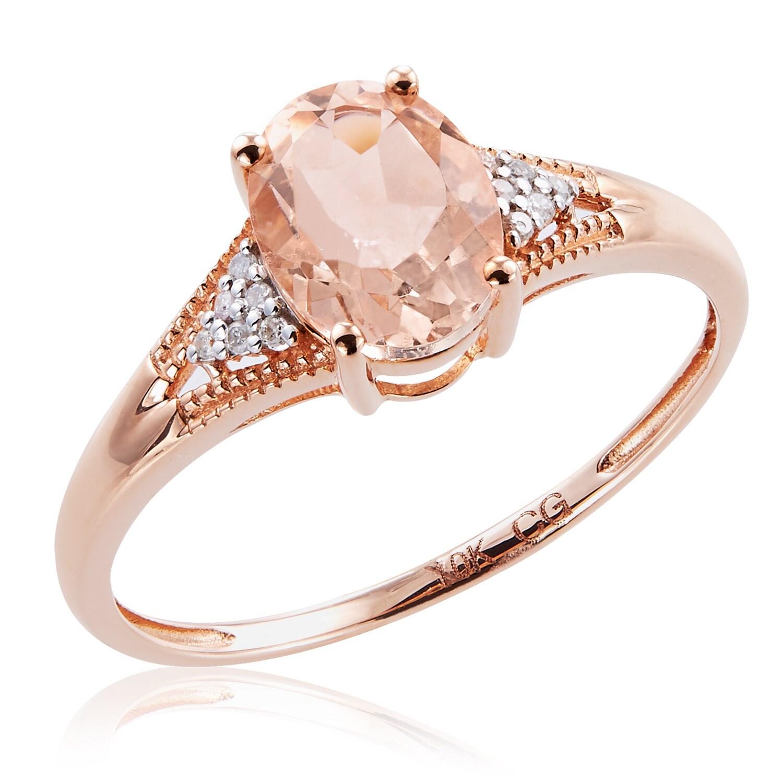 10k Rose Gold Morganite and Diamond Ring G-H, I2-I3