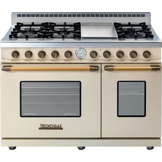 "Tecnogas Superiore Range DECO 48"" Classic Cream Matte with Brass Accents"