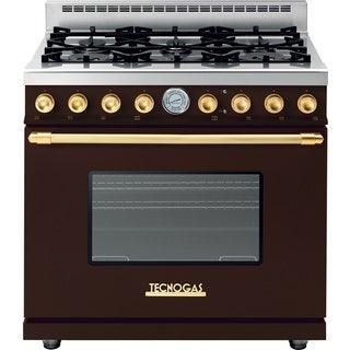 """Techngas Superiore Range DECO 36"""" Classic Matte Brown with Gold Accents"""