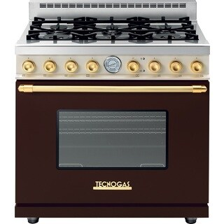 "Tecnogas Superiore Range DECO 36"" Classic Brown dual color with Gold Accents"