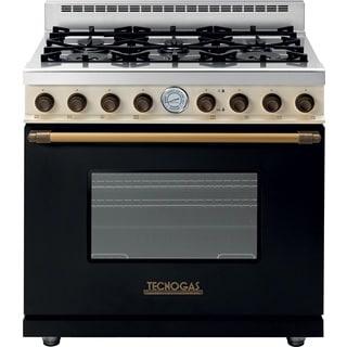 "Tecnogas Superiore Range DECO 36"" Classic Black dual color with Brass Accents"