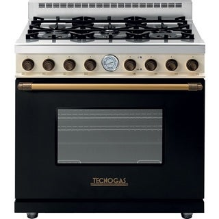 "Tecnogas Superiore Range DECO 36"" Classic Black dual color with Brass Accents"