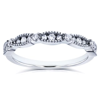 Annello by Kobelli 14k White Gold 1/4ct TDW Diamond Milgrain Wedding Ring