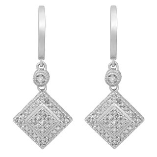 Sterling Silver 1/2ct TW Round White Diamond Dangling Drop Earrings (I-J, I2-I3)