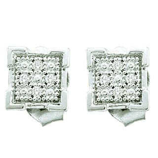 Sterling Silver Round Diamond Accent Dice Shape Micro Pave Stud Earrings (I-J, I2-I3)