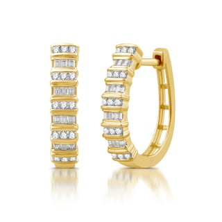 1/2 CTTW Round And Baguette Diamond Hoop Earrings in 10K Yellow Gold