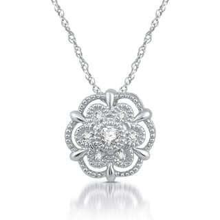 1/20 Ct. TDW Diamond Accent Alternating-Frame Flower Cluster Pendant in Sterling Silver (I/J- I2)