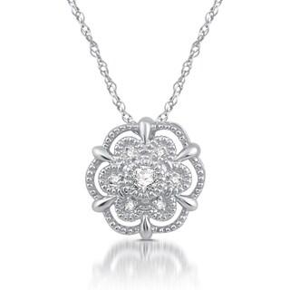 1/20 Ct. TDW Diamond Accent Alternating-Frame Flower Cluster Pendant in Sterling Silver - White I-J