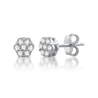 1/5 CTTW Diamond Blossom Earrings In Sterling Silver