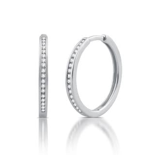 1/4 ct. TDW Diamond Hoop Earrings in Sterling Silver (I/J-I2)