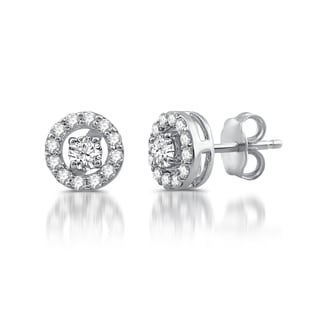 Sterling Silver 1/2 ct. TDW Diamond Stud Plus Earrings in Sterling Silver (I/J- I2/I3)