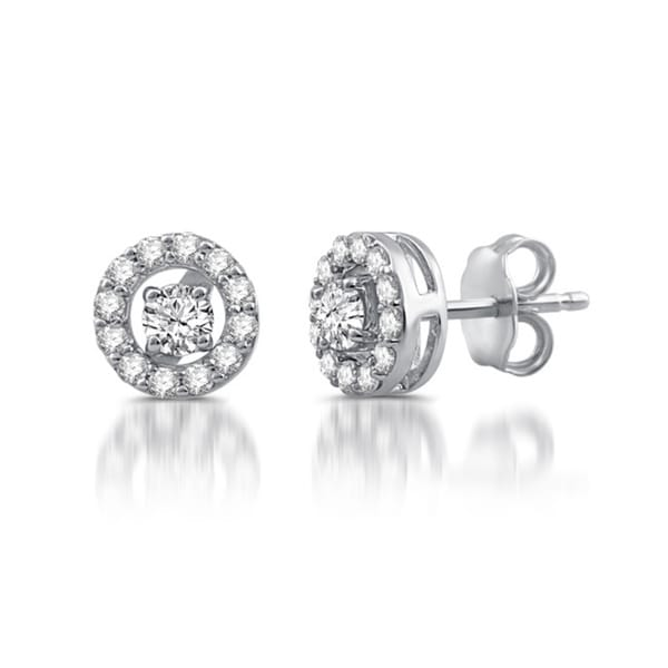Sterling Silver 1 2 Ct Tdw Diamond Stud Plus Earrings In