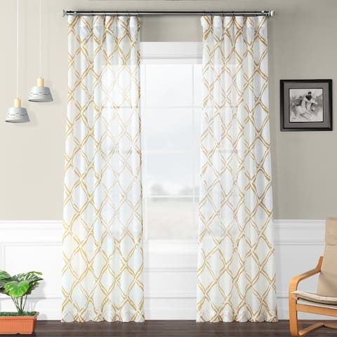 Exclusive Fabrics Normandy Printed Faux Linen Sheer Curtain Panel