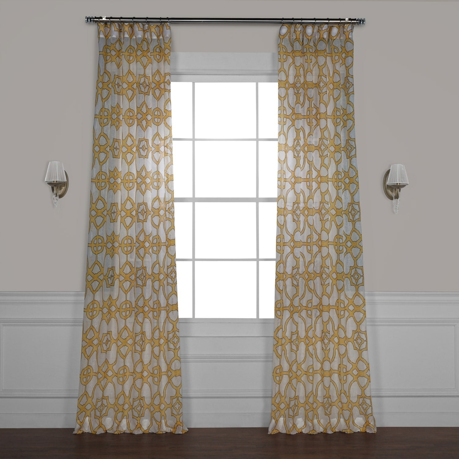 Exclusive Fabrics Sea Glass Blue Printed Faux Linen Sheer Curtain Panel On Sale Overstock 13879440