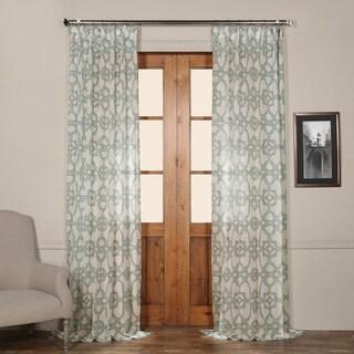 Exclusive Fabrics Sea Glass Blue Printed Sheer Curtain Panel
