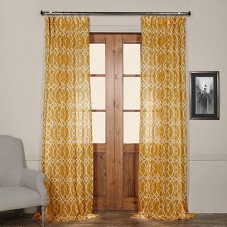 Exclusive Fabrics Tava Yellow Printed Sheer Curtain Panel