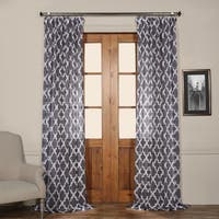 Exclusive Fabrics Birmingham Blue Printed Sheer Curtain Panel