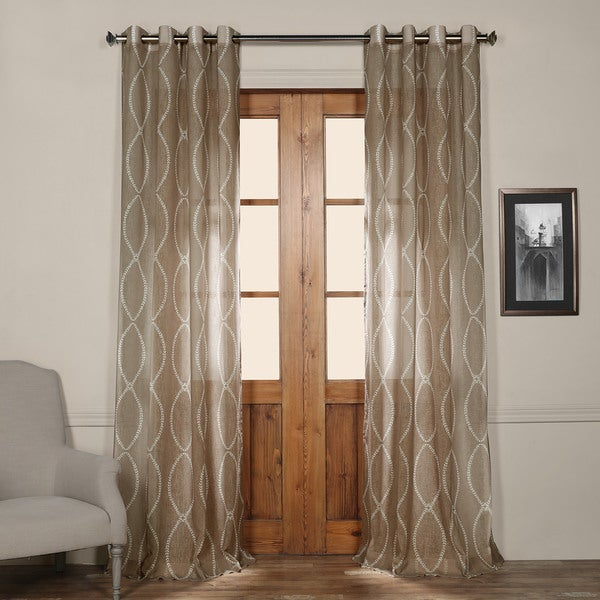 Exclusive Fabrics Grecian Taupe Printed Sheer Grommet Curtain Panel