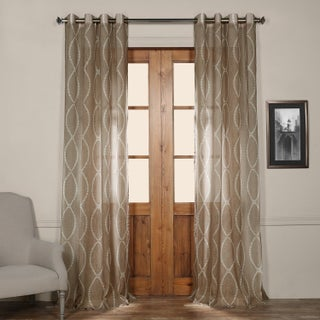 Exclusive Fabrics Grecian Taupe Printed Sheer Grommet Top Curtain Panel (3 options available)