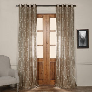 Exclusive Fabrics Grecian Taupe Printed Sheer Grommet Top Curtain Panel