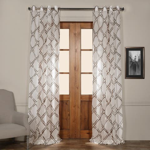 Exclusive Fabrics Normandy Printed Faux Linen Sheer Grommet Top Curtain Panel