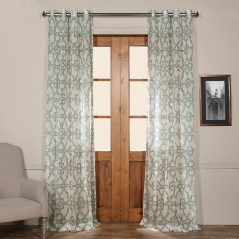 Exclusive Fabrics Sea Glass Grommet Printed Faux Linen Sheer Curtain Panel