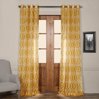 Exclusive Fabrics Tava Yellow Printed Sheer Grommet Top Curtain Panel