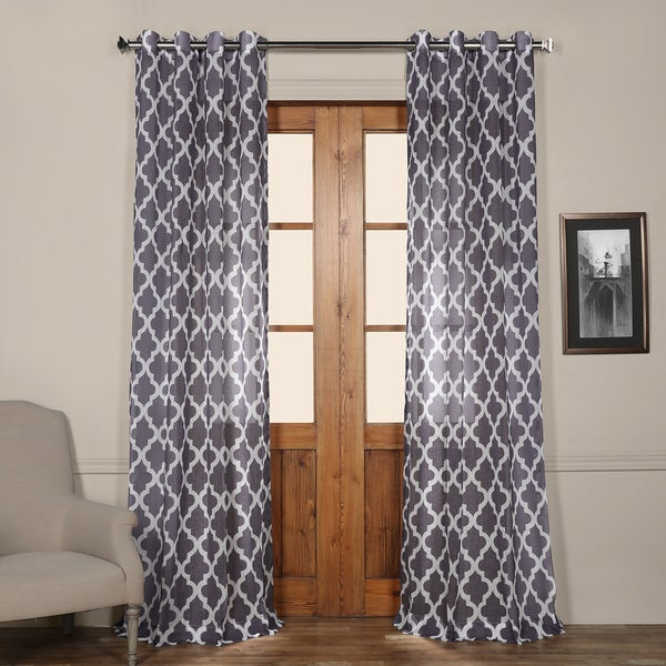 Exclusive Fabrics Birmingham Blue Printed Sheer Grommet-top Curtain Panel