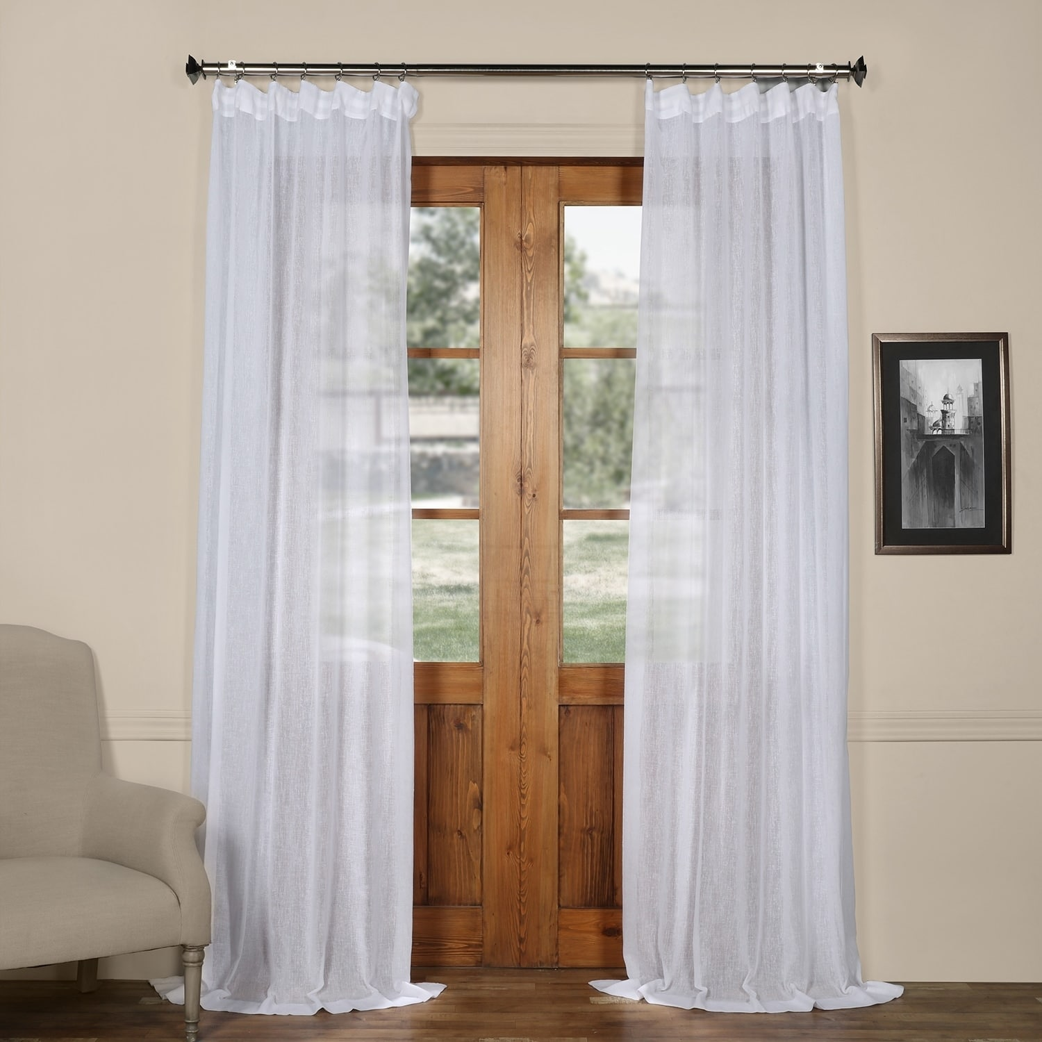 Exclusive Fabrics Solid Faux Linen Sheer Curtain (As Is I...
