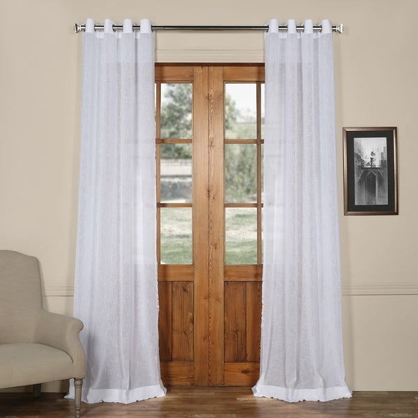 Exclusive Fabrics Grommet Solid Faux-linen Sheer Curtain Panel. Opens flyout.