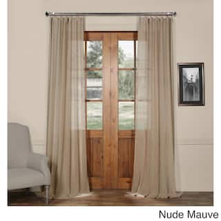 Exclusive Fabrics Grommet Solid Faux Linen Sheer Curtain Panel Option 120 Inches