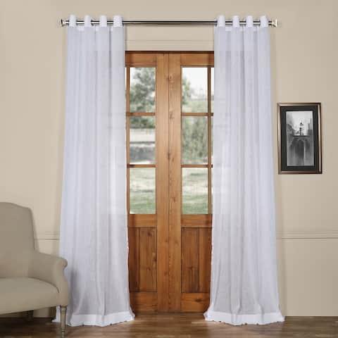 Exclusive Fabrics Grommet Solid Faux-linen Sheer Curtain Panel