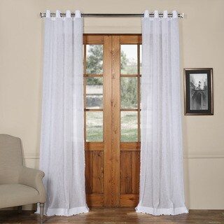 Exclusive Fabrics Grommet Solid Faux-linen Sheer Curtain Panel