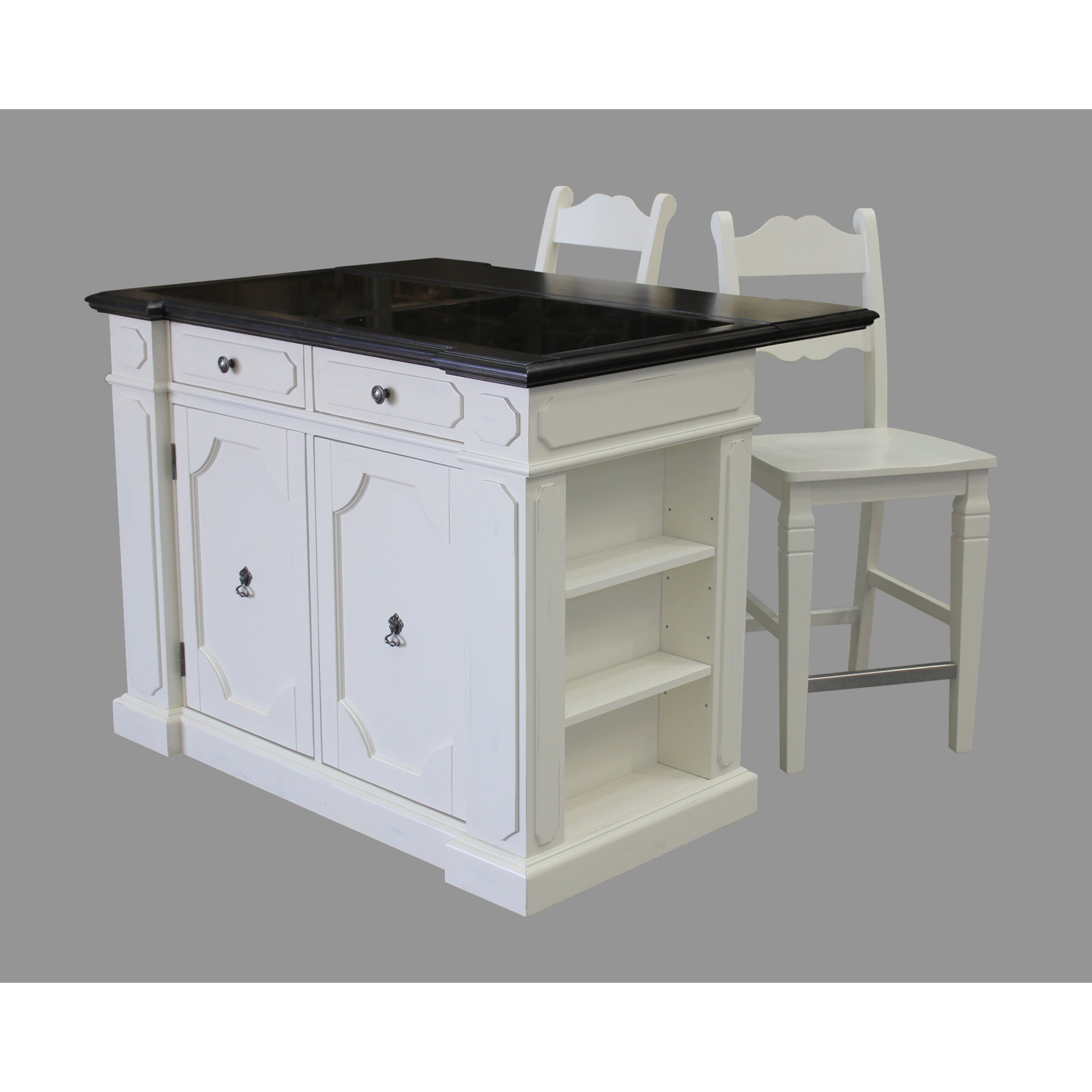 Havenside Home Driftwood Granite Top Kitchen Island with 2 Stools