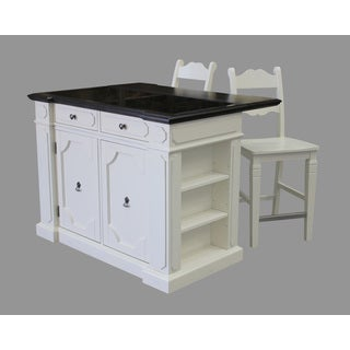 Home Styles Fiesta Granite Top Kitchen Island with 2 Stools