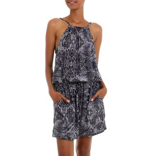 Handcrafted Rayon 'Banana Bark in Black' Romper (Indonesia)
