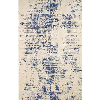 Pasargad's Modern Collection Beige-Toupe Microfiber Area Rug (9' X 12')