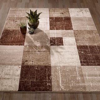 City Collection Polypropylene Geometric Checkered Area Rug