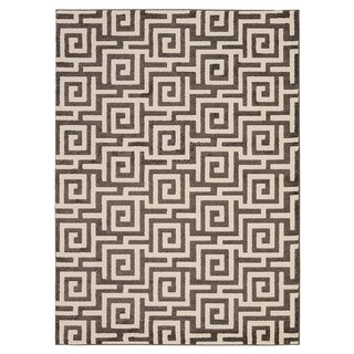 City Collection Contemporary Sculpted Effect Geometric Greek Key Area Rug (5'3 X 7'3)