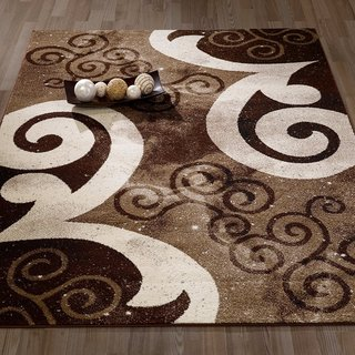 City Collection Contemporary Sculpted Effect Abstract Chocolate/Beige/Cream Polypropylene Area Rug (5'3 x 7'3)