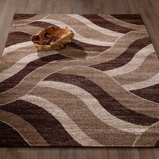 "City Collection Sculpted Effect Abstract Waves Beige/Brown Area Rug - 5'3"" x 7'3"""